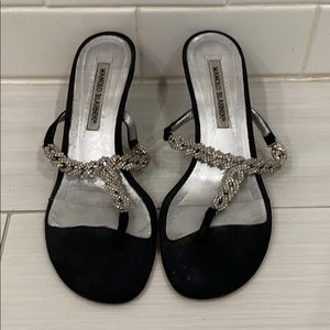 short black kitten heels with diamond chain straps